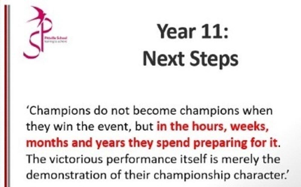 Year 11 Next Steps Year Ahead presentation 2021 - News - Pittville School